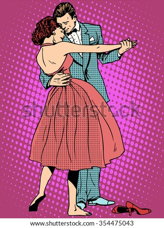 Wedding dance lovers man and woman pop art retro style. Feelings emotions romance. Art music ringtones. Girl and marriage. Couple dancing - stock vector