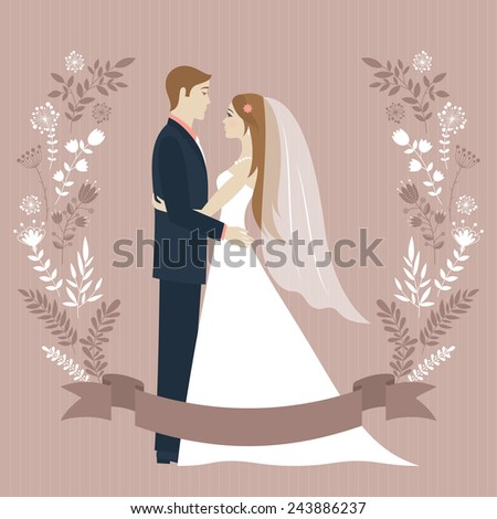Wedding day. Bride and groom looking at each other and hugging. Wedding couple. Romantic vintage background. Flower wreath and ribbon with place for text. Greeting card. Vector illustration.  - stock vector