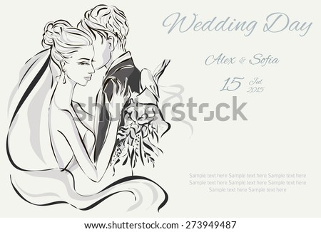 Wedding Day invitation with sweet couple vector illustration - stock vector