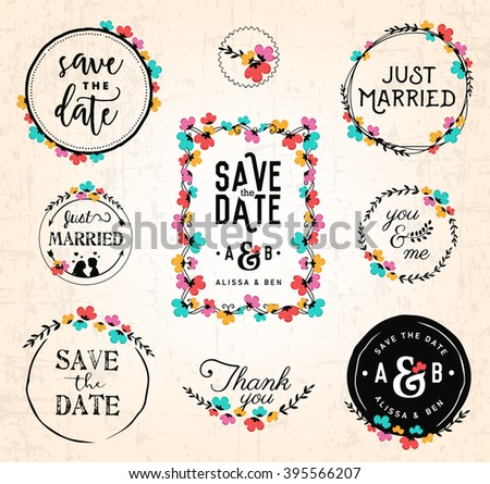 Wedding Design Elements and Frames for Invitations and Save the Date Cards  - stock vector