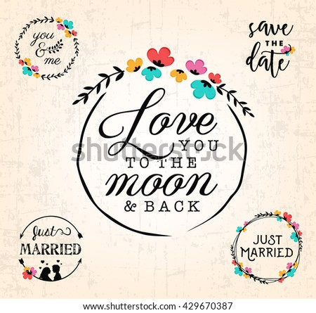 Wedding Design Elements for Invitations and Save the Date Cards - stock vector