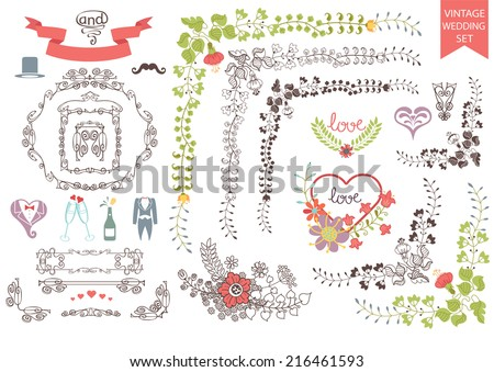 Wedding design template set  in Retro style.Floral decor,icons, swirling border. Set for groom.For Wedding  or Valentine day invitation, postcard, greeting card, cover.Festive celebration vector. - stock vector