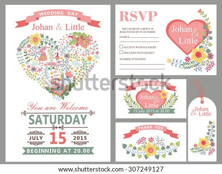 Wedding design template set with flowers,pink hearts,frame,ribbon,border in Retro style .For Wedding  invitation,thank you,save date,tag,RSVP card.Vintage vector,floral decor. - stock vector