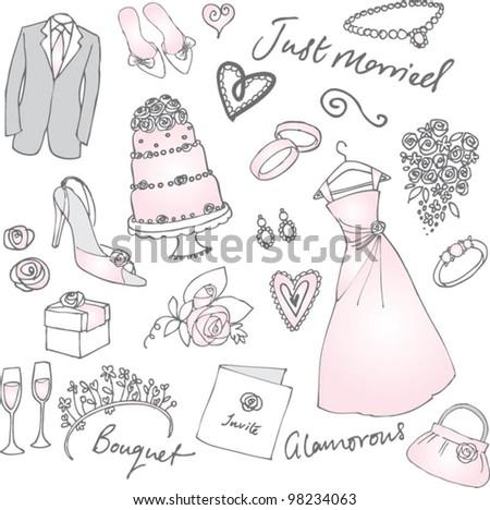 Wedding doodles vector illustration - stock vector