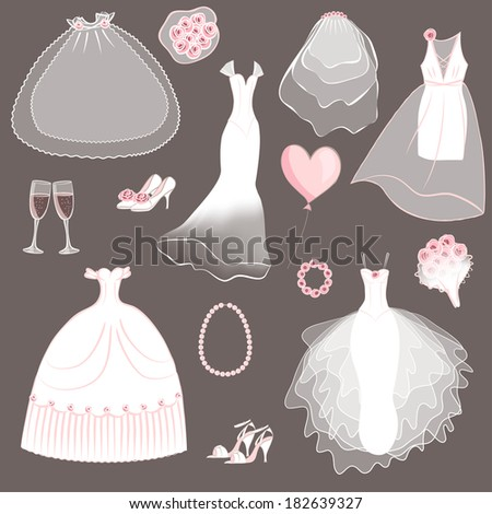 wedding dresses set - vector illustration - stock vector