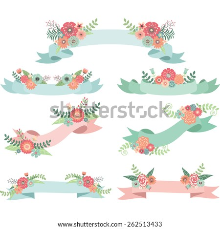 Wedding Flora with Banners - stock vector