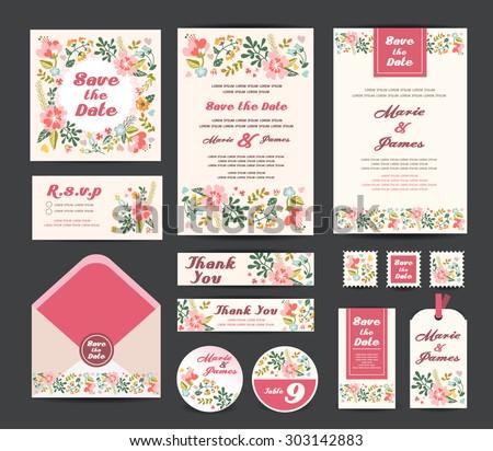 Wedding floral template collection.Wedding invitation, vector - stock vector