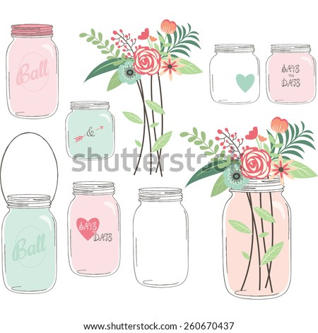 Wedding Flower with Mason Jar - stock vector