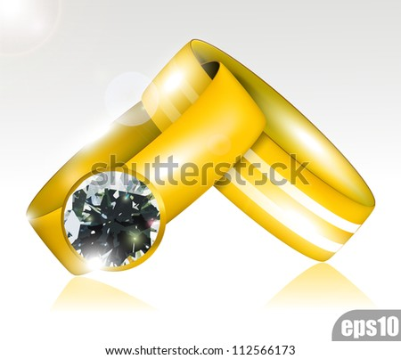 Wedding Gold ring eps10 - stock vector