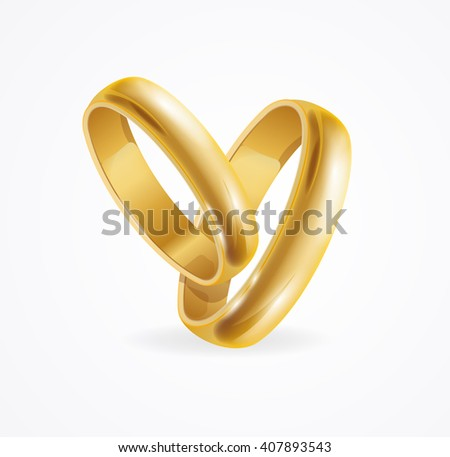 Wedding Gold Ring with Reflection. Symbol Of Marriage. Vector illustration - stock vector