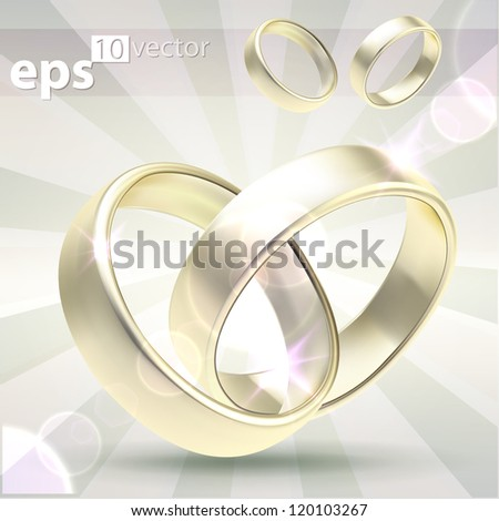 Wedding golden rings linked and separate, eps10 high quality vector composition illustration - stock vector