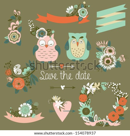 Wedding graphic set - stock vector