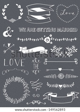 Wedding graphic set, arrows, hearts, laurel, wreaths, ribbons and labels. - stock vector