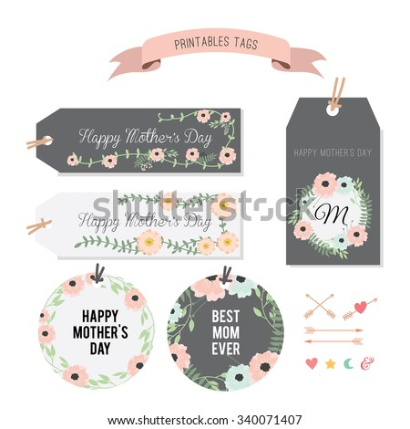 Wedding graphic set, flowers, tags - stock vector
