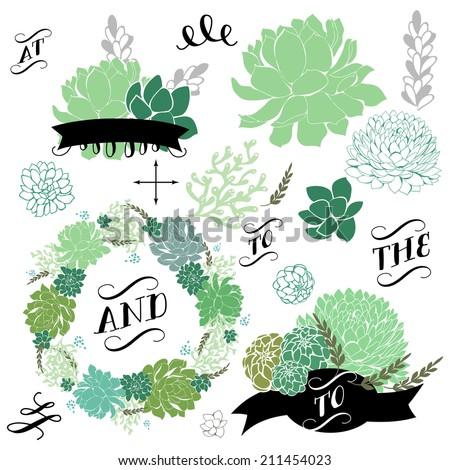 Wedding graphic set with succulents, wreath and glass terrariums - stock vector