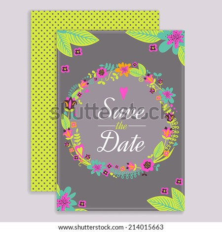 Wedding greeting card design, front and back - stock vector