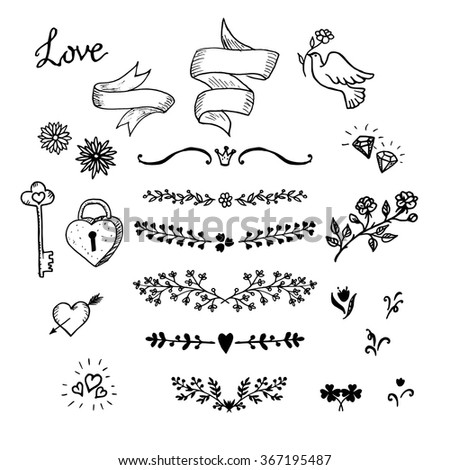 Wedding hand made graphic set flowers, ribbons and decorative elements. Vector design elements decorations for wedding. Hand made vintage design elements, designers toolkit. - stock vector