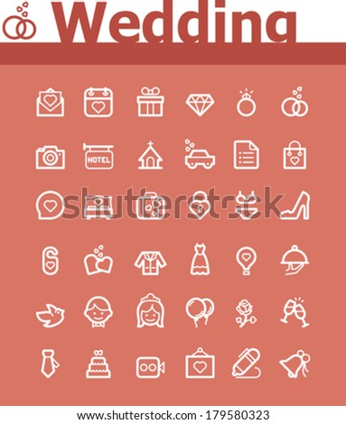 Wedding icon set - stock vector