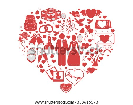wedding icons heart set - stock vector