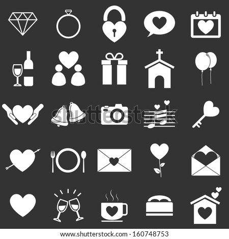 Wedding icons on black background, stock vector - stock vector