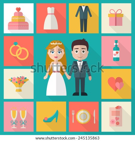 Wedding icons set. Bride, groom, present, rings, cake, love, flowers, dress and other objects. Flat style vector illustration. - stock vector