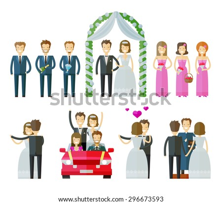 wedding icons set.  marriage, nuptial, wed or bride and groom signs. vector illustration - stock vector