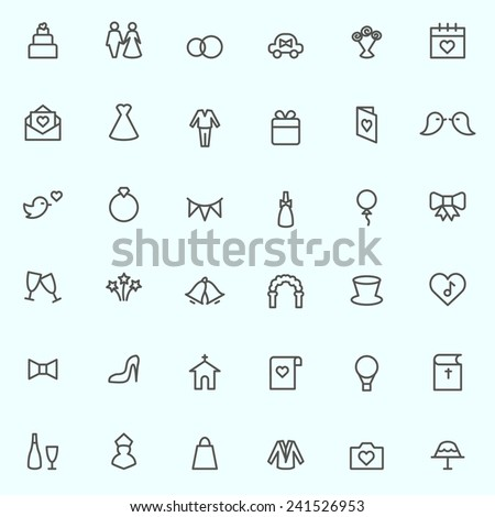 Wedding icons, simple and thin line design - stock vector