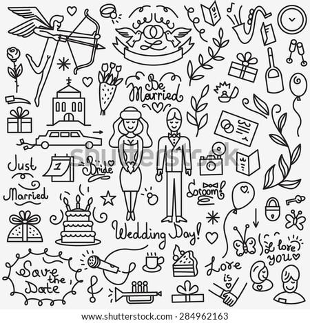 wedding icons , thin line design elements - stock vector