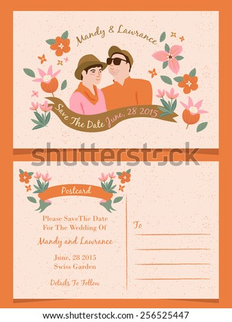 Wedding illustration Invitation/ Save The Date / Just Married Cards 2 - stock vector