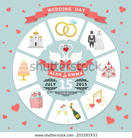 Wedding infographic set with Cartoon Bride and groom.Wedding day coast statistics design template.Vector business concepts with flat  icons  for business report or plan  - stock vector