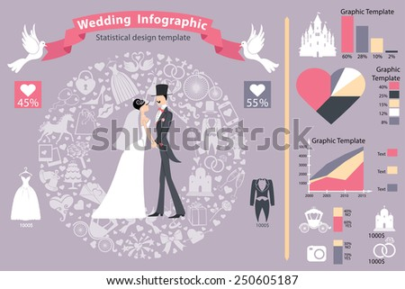 Wedding infographics set.Bride and groom with icons wreath,diagram.Flat Vector  business concepts with icons.Business report or plan ,modern template ,business brochure ,system diagram,web statistic - stock vector
