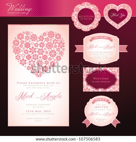 Wedding invitation card and elements - stock vector
