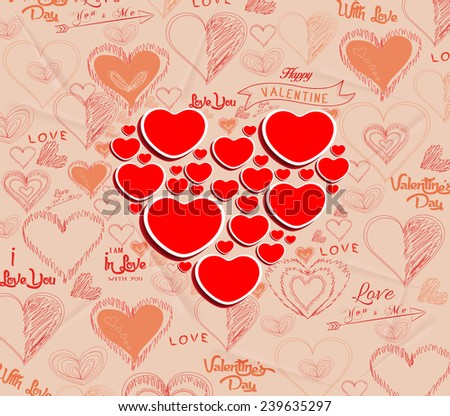 wedding invitation, card for Valentine Day - stock vector