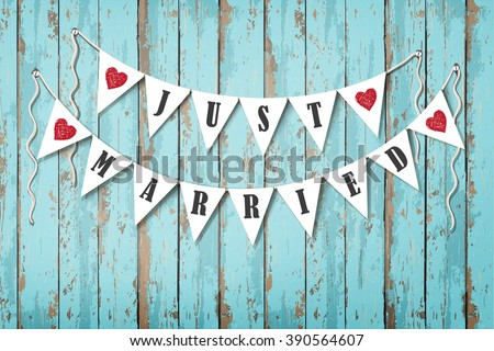 Wedding invitation card. Hanging wedding decorative flags with inscription Just Married. Vintage wooden background. Sea style - stock vector