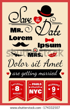 Wedding invitation card or infographics elements in hipster style with hat bow and mustache vector illustration - stock vector