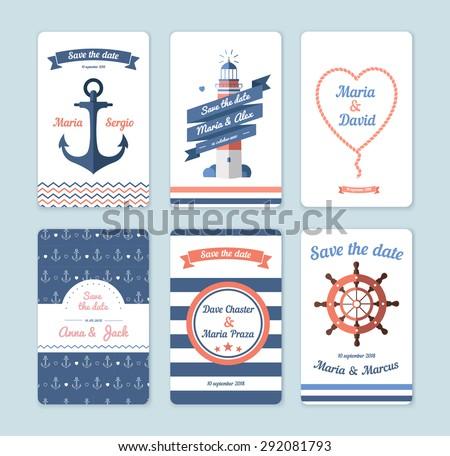 Wedding invitation card. Save the date, sailor theme. Set invitation - stock vector