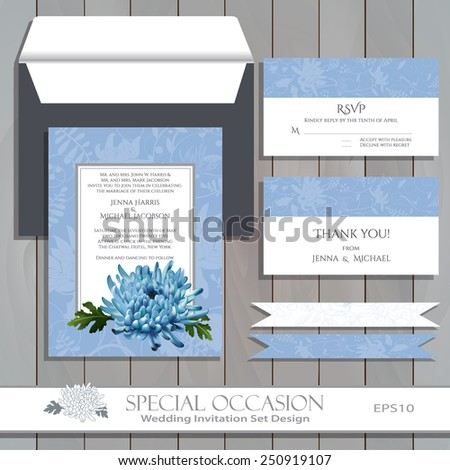 Wedding invitation card set design. Invitation, thank you card, RSVP. Vector floral invitation card with blue Chrysanthemum flower. Greeting card for Special Occasions & Life events on wood. Editable. - stock vector