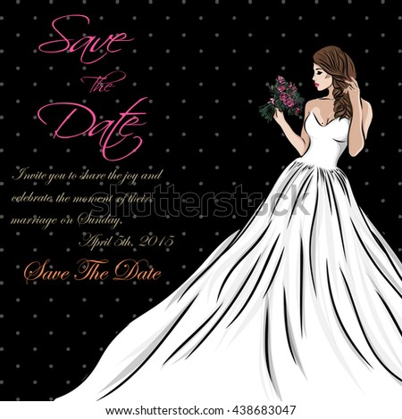 wedding invitation card suite with bride and flowers. Vector - stock vector