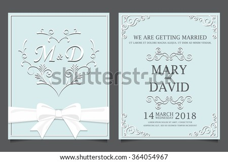 wedding invitation card templates, love and valentine day. can be use for party invitation or holiday greeting card. vector illustration - stock vector