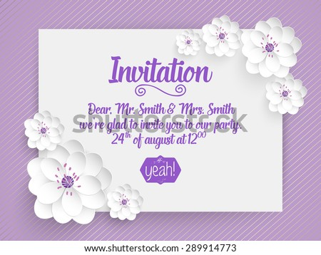 Wedding invitation card. Vector invitation card with abstract background and elegant frame with text decorated with 3d flowers. - stock vector