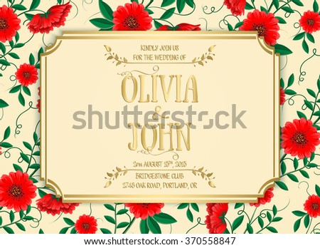 Wedding invitation card. Vector invitation card with floral background and elegant frame with text.  - stock vector