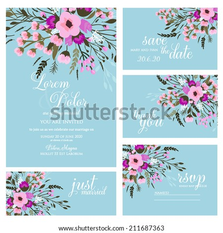 Wedding invitation card Wedding invitation, thank you card, save the date cards. Wedding set. RSVP card - stock vector