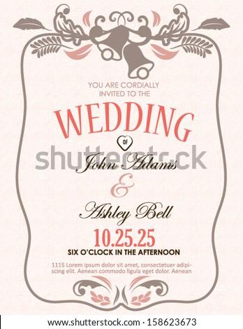 Wedding Invitation Card with Bells in Vector  - stock vector
