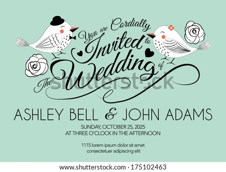 Wedding Invitation Card with Bird on Mint Green Background - stock vector