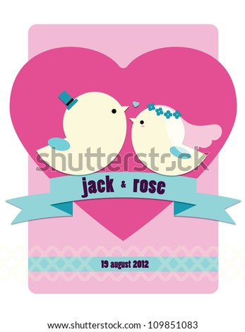 Wedding invitation card with birds & love ribbon - stock vector