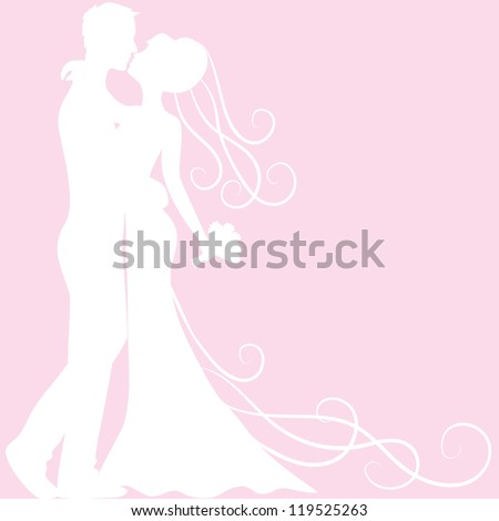 Wedding invitation card with bride and groom silhouette - stock vector