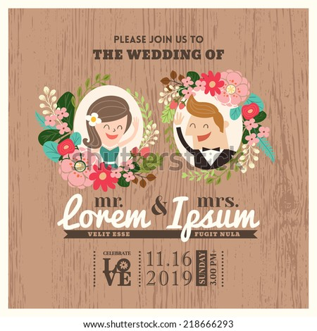 wedding invitation card with cute groom and bride cartoon - stock vector