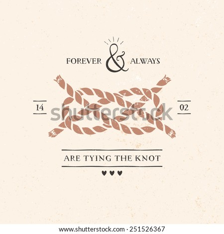 Wedding invitation card with knot, lettering and other decorative elements. Vector hand drawn illustration. - stock vector