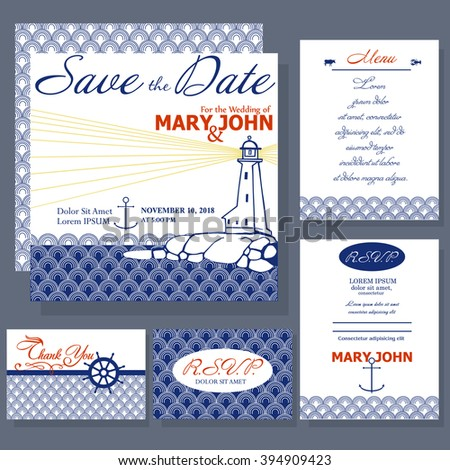 Wedding invitation card with lighthouse in white and blue colors. Ocean and Nautical motive. RSVP and menu card - stock vector