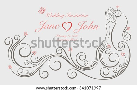 Wedding invitation card with ornate swirl graphic decoration in shape of bride standing with long dress. - stock vector